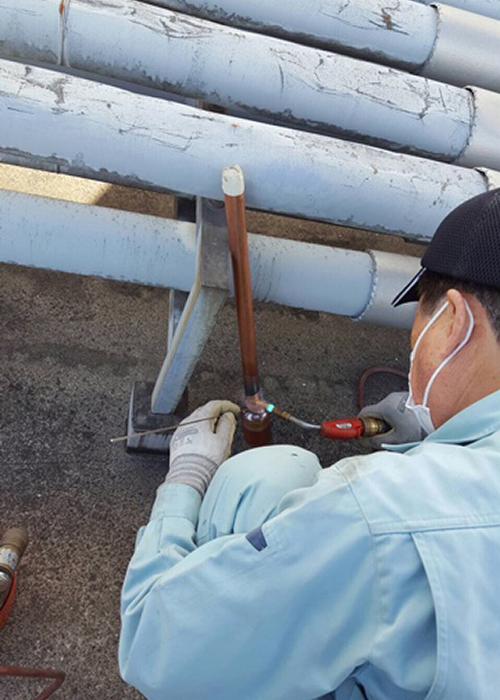 室外機側の配管溶接