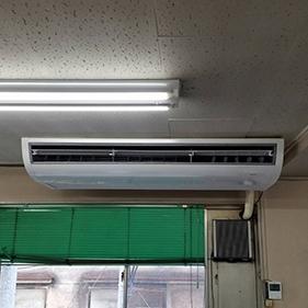江東区のテナントビルにて天井吊形エアコンの入替え【業務用エアコン】