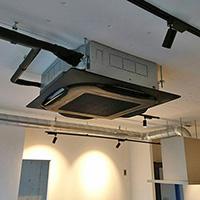 神奈川県川崎市の空きテナントにて天井埋込形ラウンドフローの新規設置工事【業務用エアコン】
